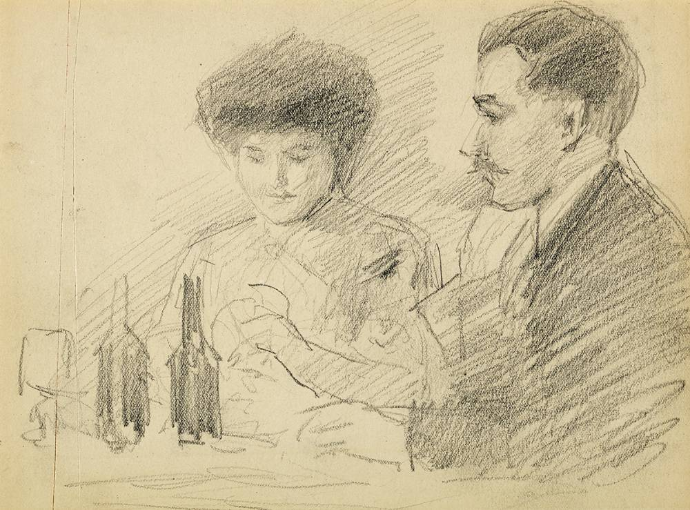 COUPLE IN A RESTAURANT by John Butler Yeats RHA (1839-1922) at Whyte's Auctions