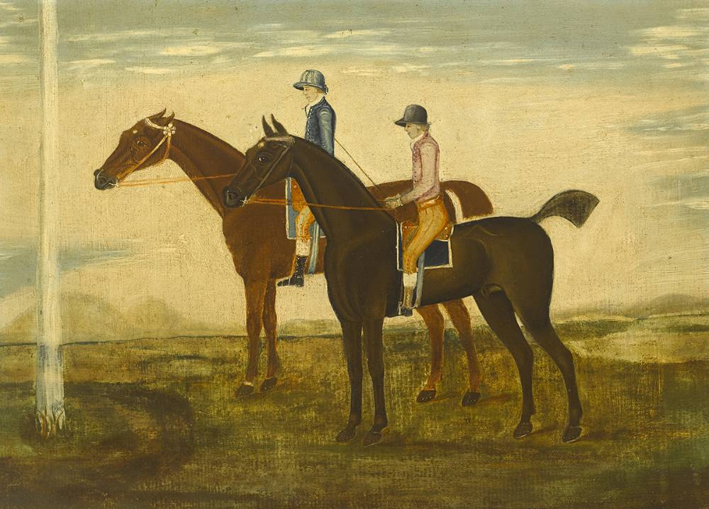 TWO RACEHORSES WITH JOCKEYS UP at Whyte's Auctions