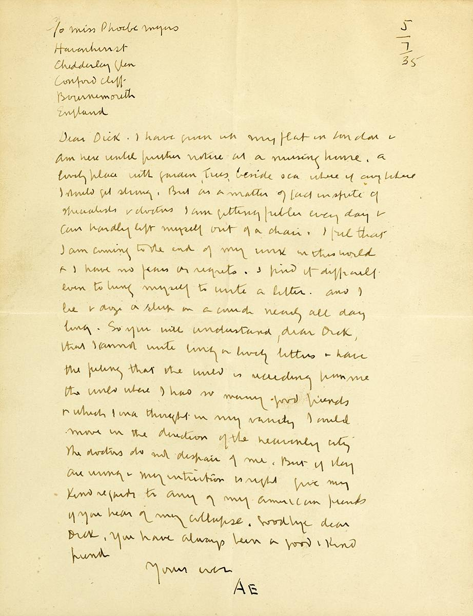 LETTER TO JULY 5, 1935 by George Russell ('�') (1867-1935) at Whyte's Auctions