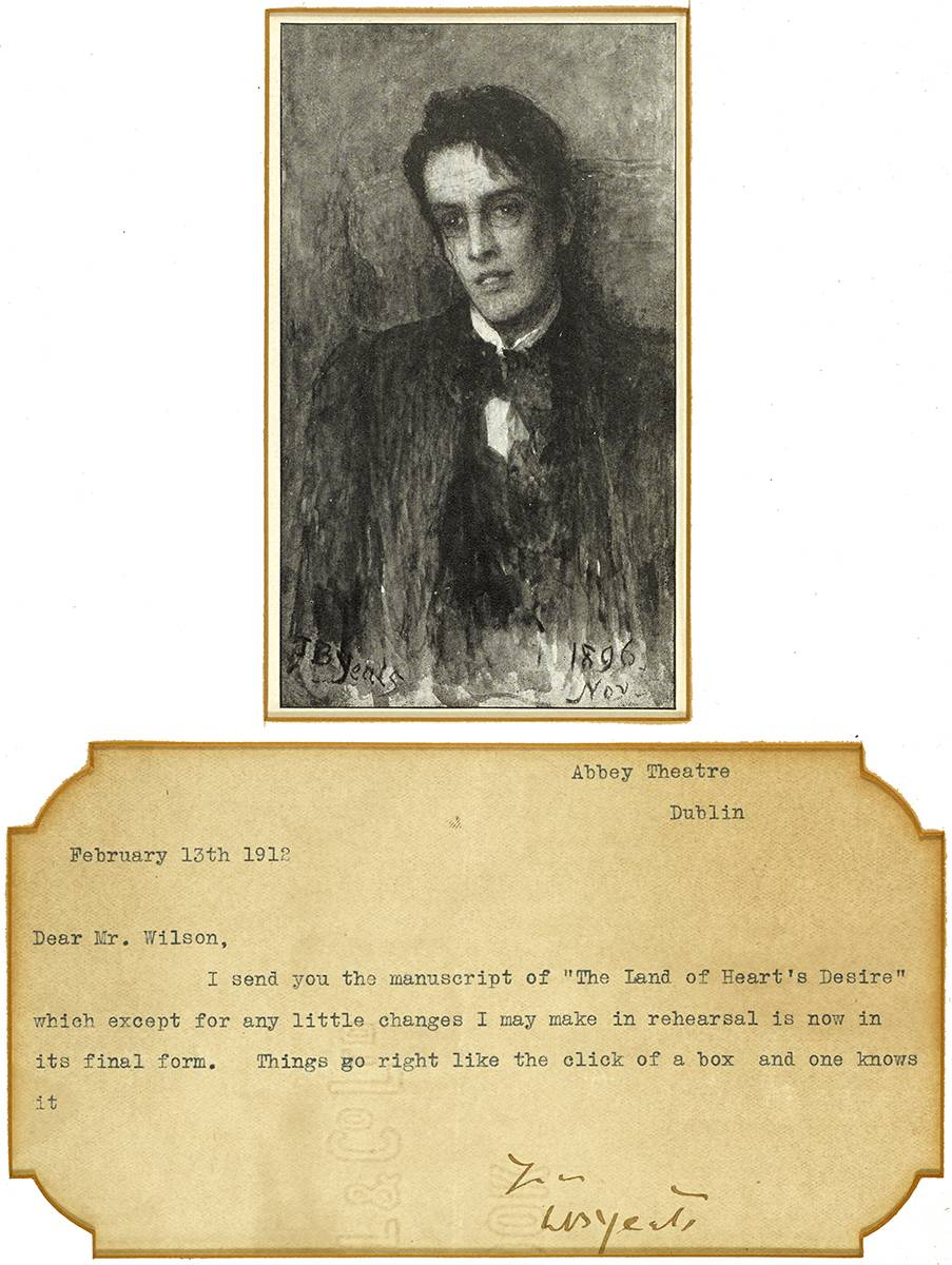 LETTER TO WILSON, 13 FEB 1912, TYPED 'ABBEY THEATRE' WITH A PHOTOGRAPH OF WB YEATS by William Butler Yeats (1865-1939) at Whyte's Auctions
