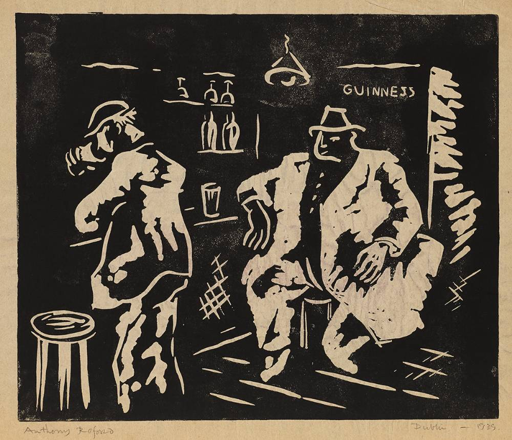 BAR SCENE, DUBLIN,1939 and NUDE, 1939 (A PAIR) by Anthony Redford (fl. 1940-1943)  at Whyte's Auctions