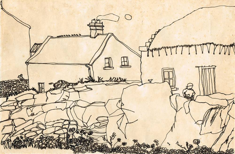 LIAM O'FLAHERTY'S ARAN COTTAGE, INISMORE ARAN ISLANDS, 1944 by Nick Nicholls (1914-1991) at Whyte's Auctions