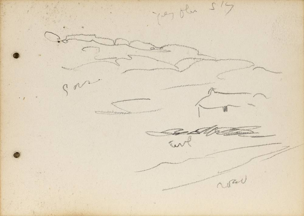 SKETCHES OF LANDSCAPE AND A BOAT (A PAIR) by Jack Butler Yeats RHA (1871-1957) at Whyte's Auctions