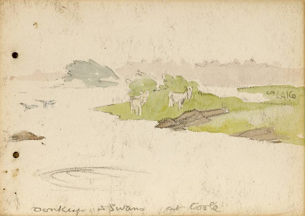 DONKEYS AND SWANS AT COOLE, 1899 by Jack Butler Yeats RHA (1871-1957) RHA (1871-1957) at Whyte's Auctions