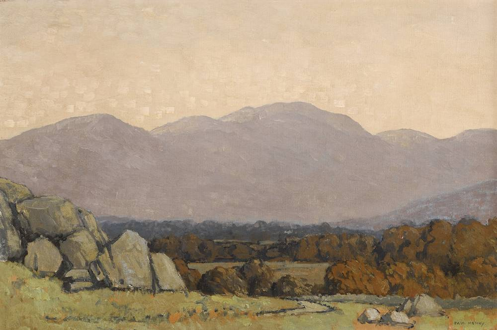 GLENCREE, COUNTY WICKLOW, c. 1939-45 by Paul Henry sold for €55,000 at Whyte's Auctions