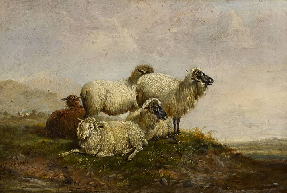 SHEEP IN A LANDSCAPE WITH DISTANT COTTAGES by Thomas Sidney Cooper RA (British, 1803-1902) at Whyte's Auctions