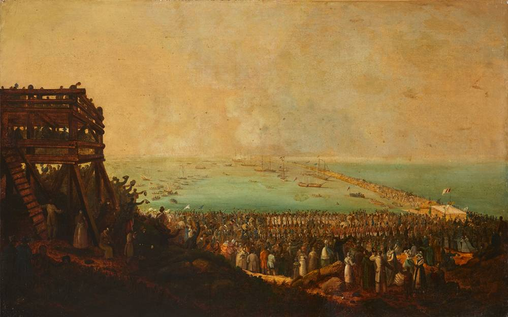 THE EMBARKATION OF KING GEORGE IV AT KINGSTOWN (NOW D�N LAOGHAIRE) 3RD SEPTEMBER 1821 by William Sadler II (c.1782-1839) at Whyte's Auctions