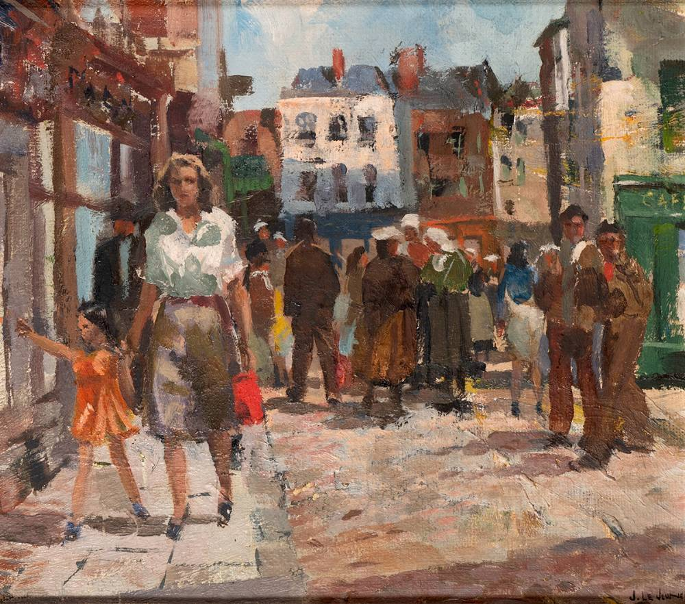 STREET SCENE IN BRETON VILLAGE by James le Jeune RHA (1910-1983) at Whyte's Auctions