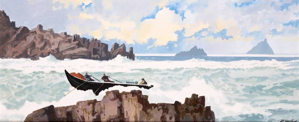ATLANTIC EDGES AND THE SKELLIGS, COUNTY KERRY by John Francis Skelton (b.1954) at Whyte's Auctions