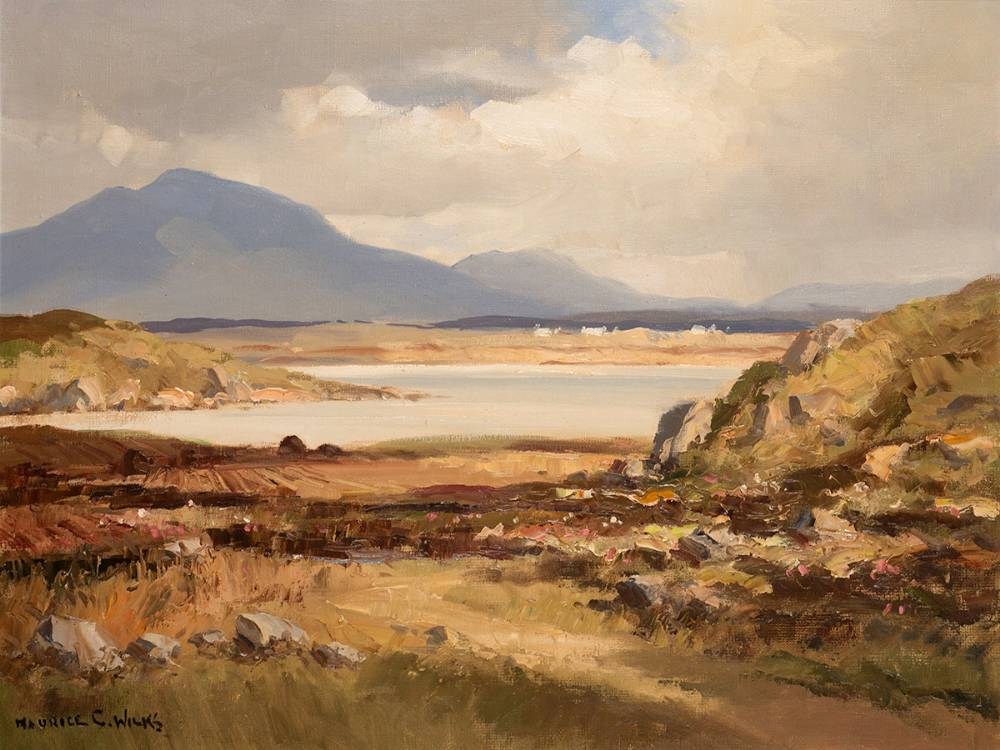 MOUNTAINS AND LAKE, WEST OF IRELAND by Maurice Canning Wilks RUA ARHA (1910-1984) at Whyte's Auctions
