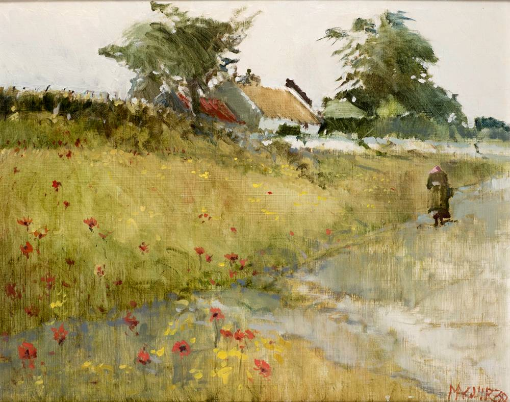 WAYSIDE COTTAGE AND WILD POPPIES, CONNEMARA, 1982 by Cecil Maguire RHA RUA (1930-2020) at Whyte's Auctions