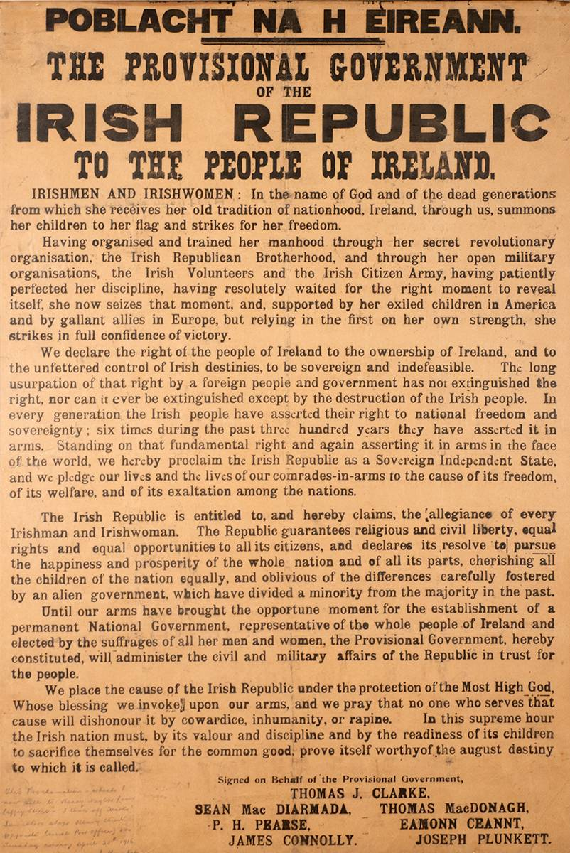 1916 PROCLAMATION OF THE IRISH REPUBLIC. An original example with an eyewitness inscription. at Whyte's Auctions