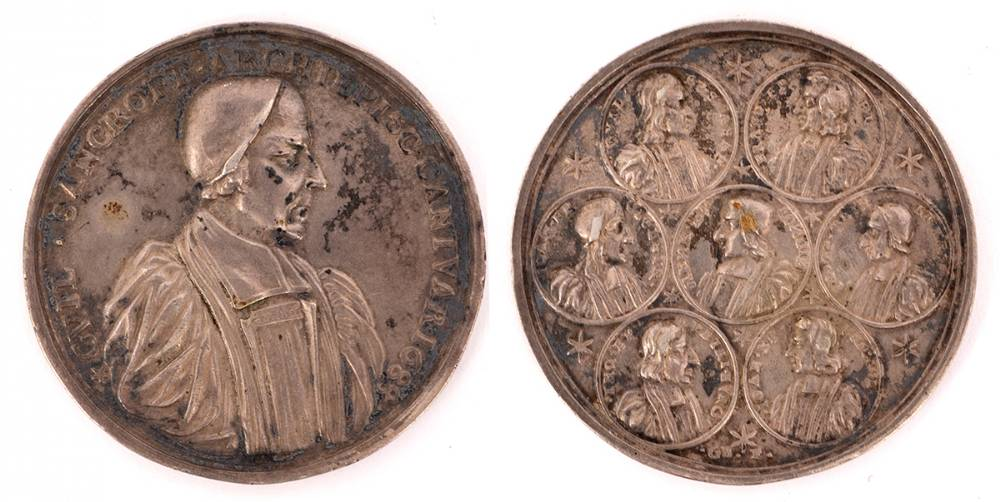 1688. Archbishop William Sancroft (1617-1693) and the Seven Bishops, silver medal, 1688 at Whyte's Auctions