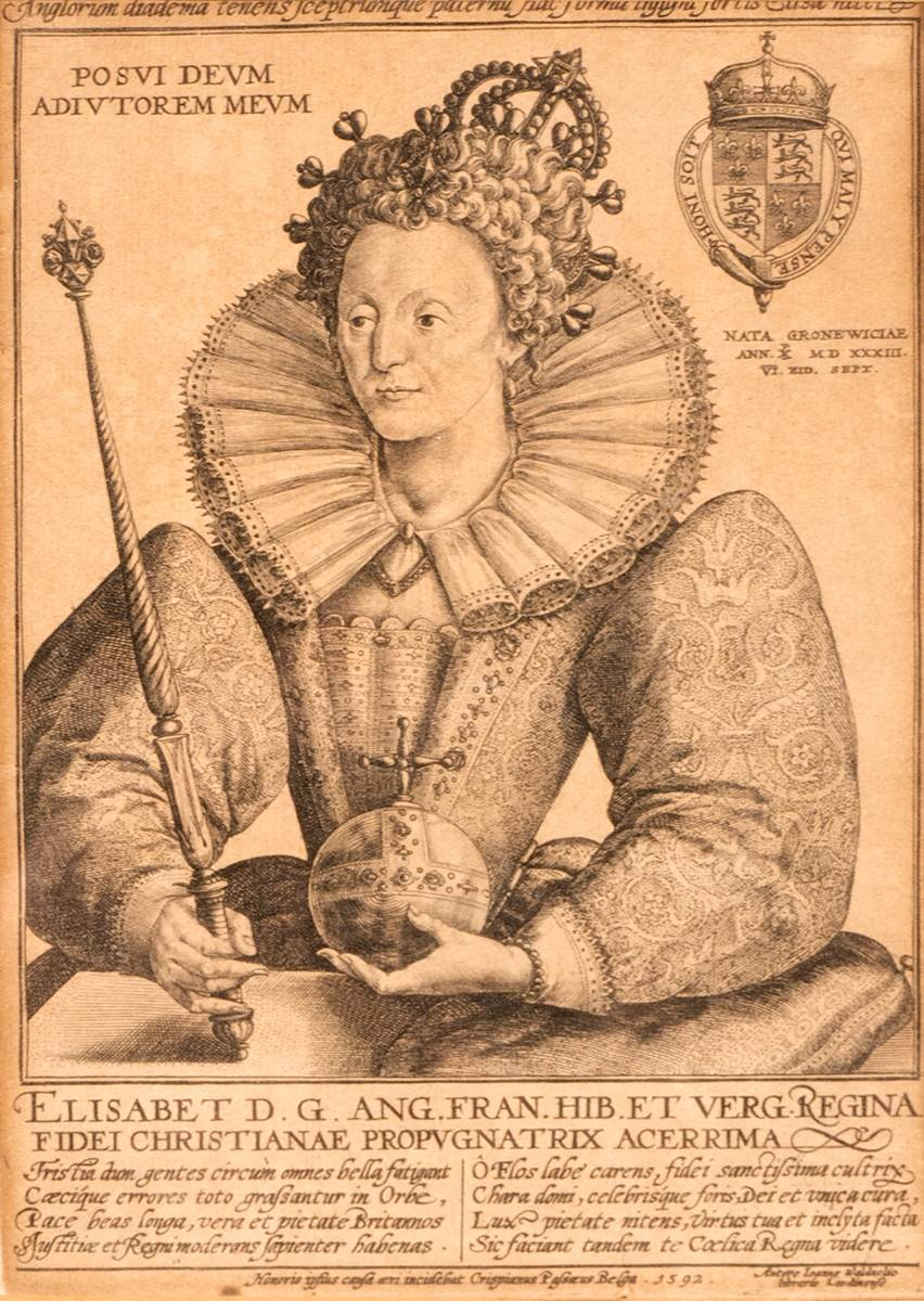 1592.  Contemporaneous engraving of Queen Elizabeth I at Whyte's Auctions