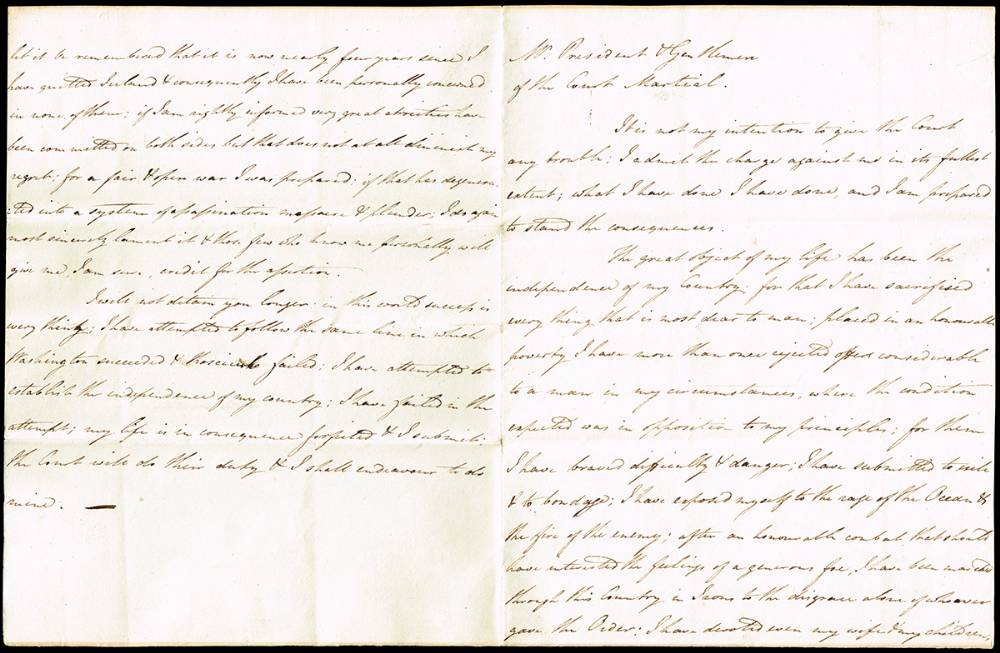 1798 (10 November) Theobald Wolfe Tone's speech from the dock. at Whyte's Auctions