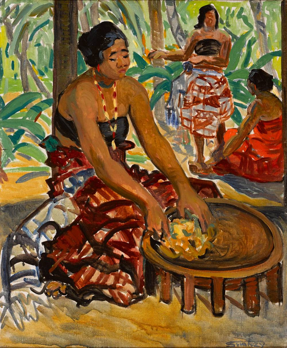 PREPARING THE MEAL, SAMOA, c. 1919-25 by Mary Swanzy sold for €48,000 at Whyte's Auctions