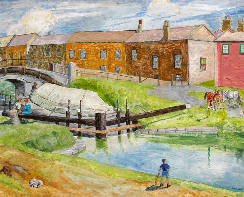 GRAND CANAL LOCK, DUBLIN, 1935 by Harry Kernoff RHA (1900-1974) RHA (1900-1974) at Whyte's Auctions