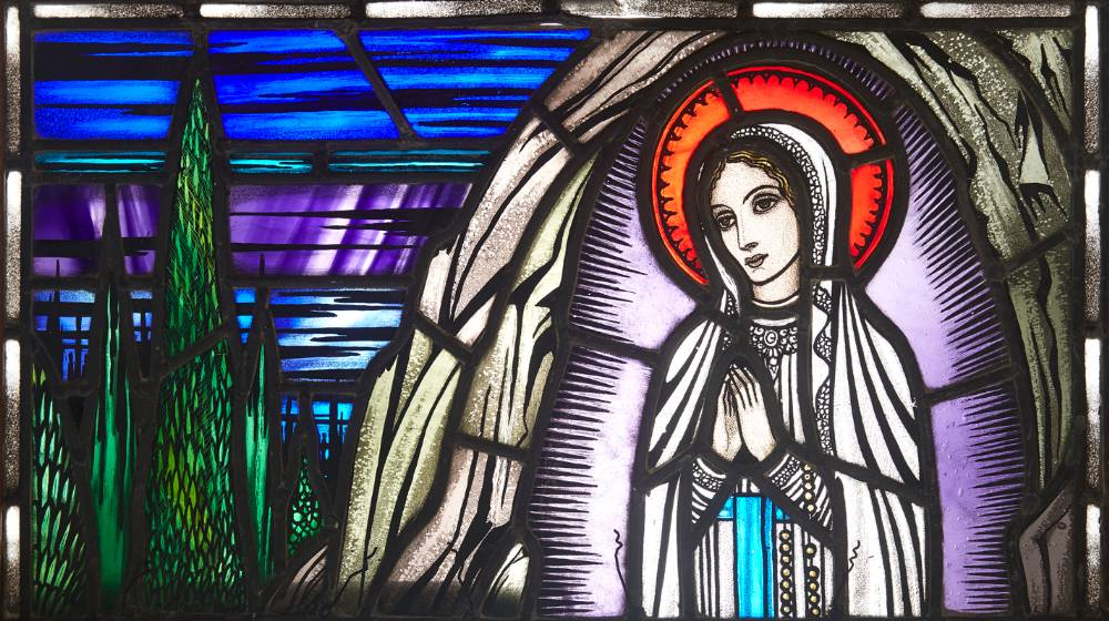 OUR LADY OF LOURDES, 1945 by The Studio of Harry Clarke sold for €36,000 at Whyte's Auctions