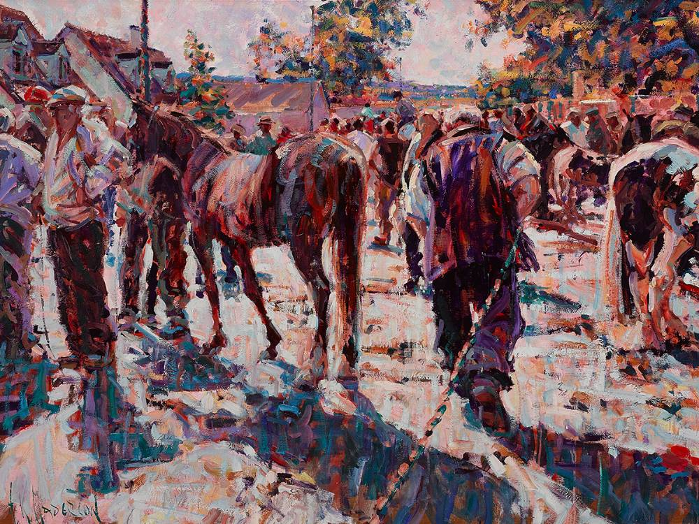IN TOW (TALLOW HORSE FAIR), COUNTY WATERFORD by Arthur K. Maderson (b.1942) at Whyte's Auctions