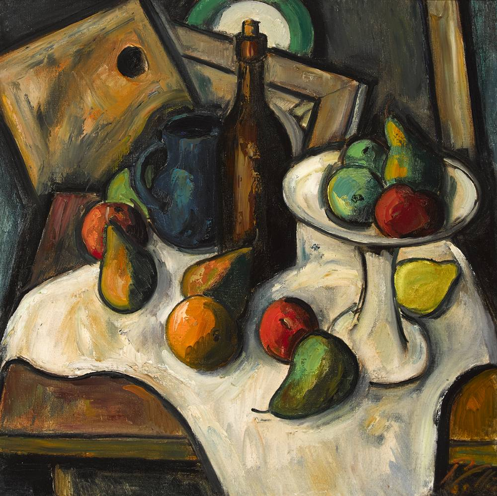 STILL LIFE WITH FRUIT, BOTTLE AND JUG by Peter Collis RHA (1929-2012) at Whyte's Auctions