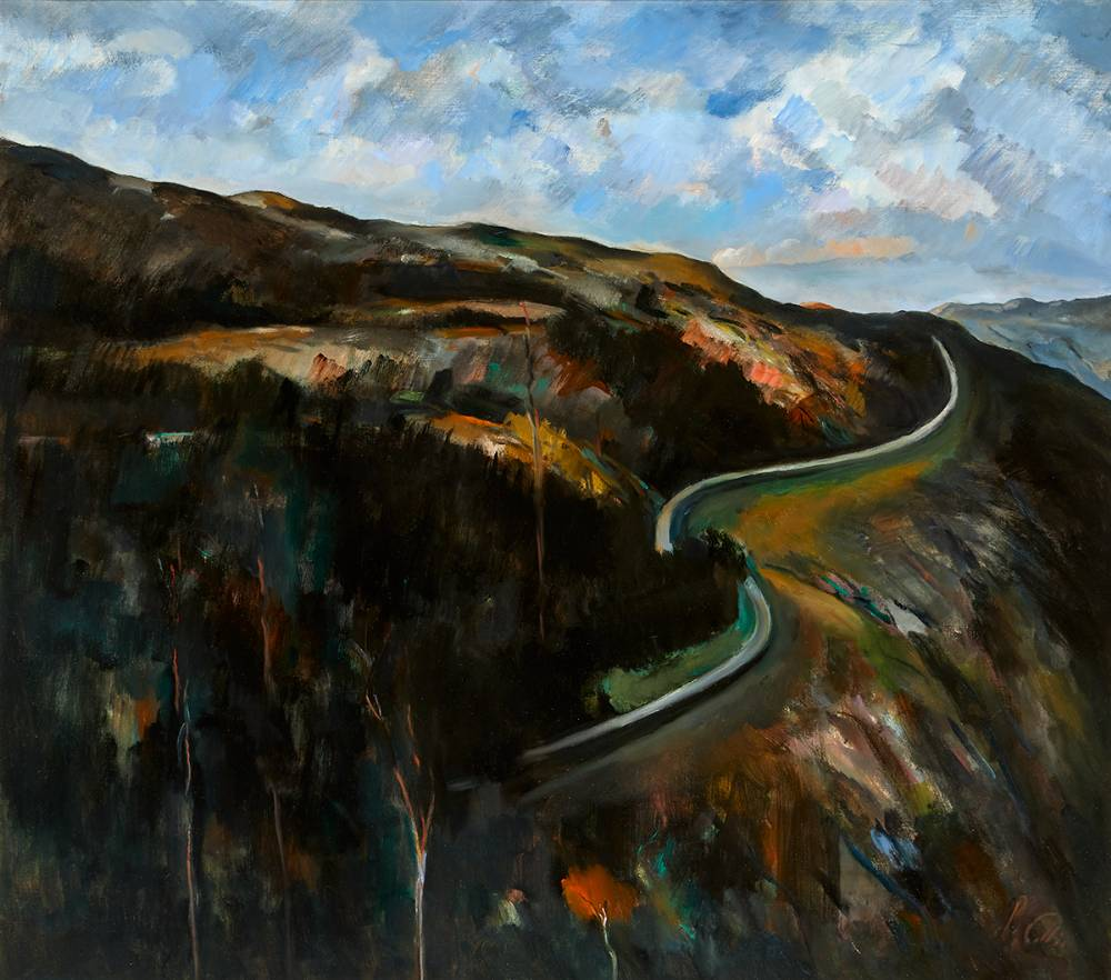 THE ROAD ABOVE LOUGH TAY, COUNTY WICKLOW by Peter Collis RHA (1929-2012) at Whyte's Auctions