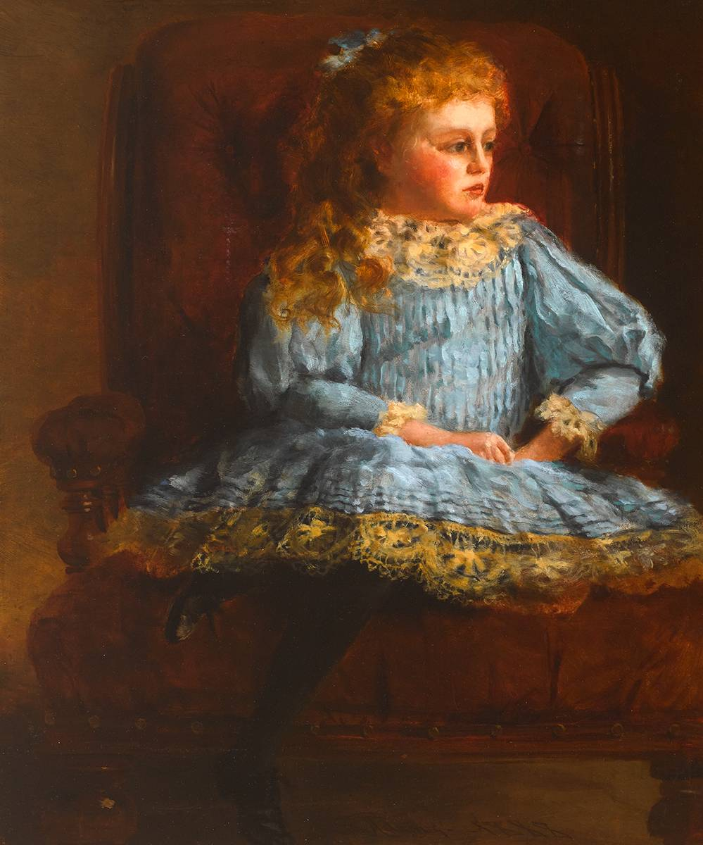 PORTRAIT OF A YOUNG GIRL, 1888 by Samuel Adams sold for �300 at Whyte's Auctions