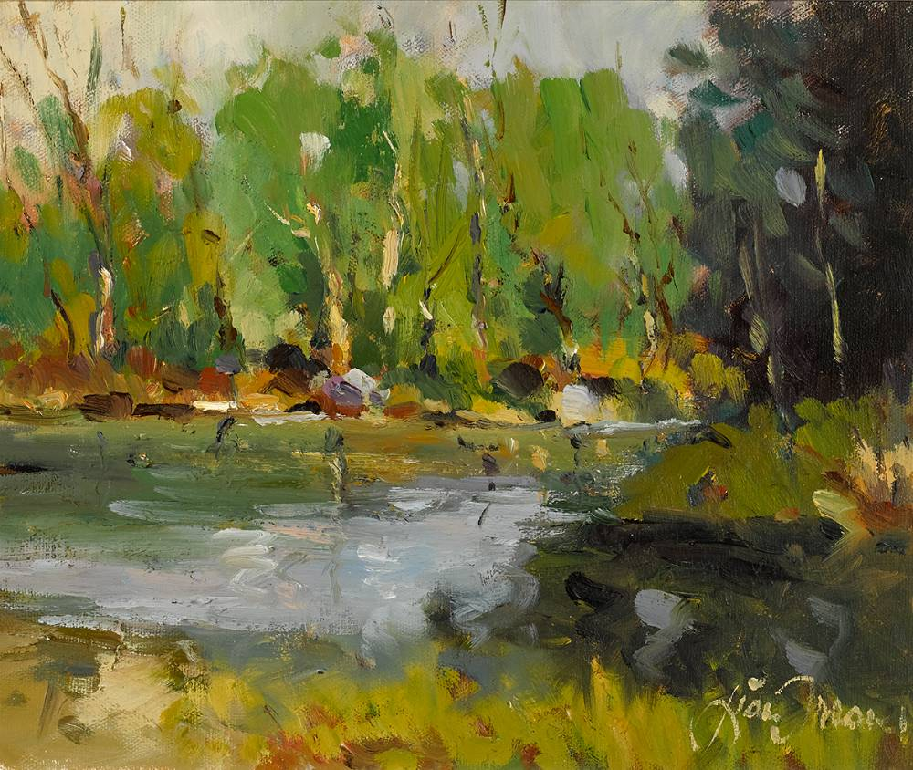 SALMON POOL ON THE AVONMORE RIVER, COUNTY WICKLOW by Liam Treacy (1934-2004) at Whyte's Auctions