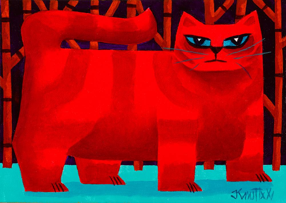 RED CAT by Graham Knuttel (b.1954) at Whyte's Auctions