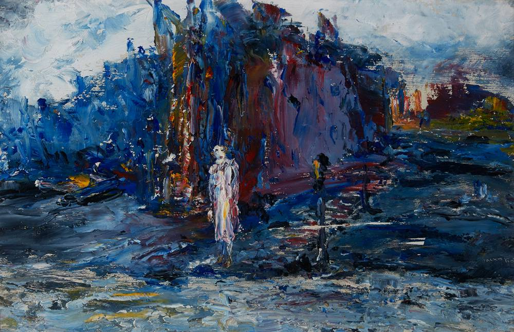 WAITING FOR THE FERRY, LOW TIDE, 1946 by Jack Butler Yeats sold for €135,000 at Whyte's Auctions